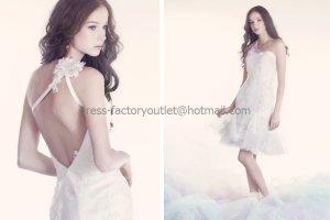 White Lace Organza Short Bridal Dress One Shoulder Mini Beach Wedding Dress Sz24 6 8 10+