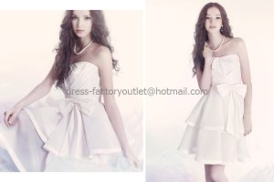 White Satin/Taffeta Short Bridal Dress Strapless Bodice Party Prom Dress Knee Length Wedding Dress