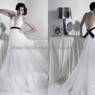White Ivory Empire Waist Bridal Gown Evening Dress Halter Black Sash Embroidery Wedding Dress