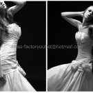 White Ivory Ruched Taffeta Bridal Gown Evening Dress Strapless Wedding Dress