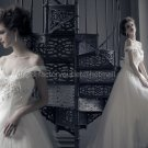 White Ivory Tulle Lace Bridal Gown Bridal Dress Off Shoulder Feather Wedding Dress Long Train