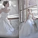 Ivory Organza Bridal Gown Strapless Bodice Champagne Satin Wedding Dress Ball Gown