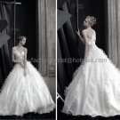 Ivory White Organza Bridal Gown Strapless Bodice Satin One Shoulder Wedding Dress Ball Gown