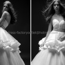 Ivory Tiered Organza Bridal Gown Strapless Bodice Wedding DressSz 24 6 8 10 12+