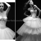 Ivory White Tiered Tulle Bridal Gown Strapless Wedding Dress Ball Gown