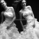 Ivory White Cascading Ruffles Organza Bridal Gown Strapless Wedding Dress Ball Gown
