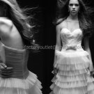 Ivory White Tiered Tulle Bridal Gown Strapless Sweetheart Wedding Dress Ball Gown