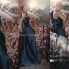 Blue Black Satin Bridal Evening Dress One Shoulder Prom Dress Corset Formal Gown Sz2 4 6 8 10 12 +