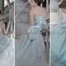 Green Organza Bridal Dress Blue Ball Gown QUINCEANERA DRESS Sz 24 6 8 10+