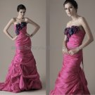 Hot Pink Bridal Dress Blue Flowers Ball Gown Memaid Wedding Dress Bridal DRESS Sz 24 6 8 10+