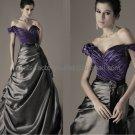 Gry Satin Bridal Dress Ball Gown A-line Wedding Dress Purple Off Shoulder Prom DRESS Sz 24 6 8 10+