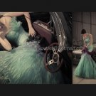 Green Organza Bridal Dress Blue Ball Gown QUINCEANERA DRESS Sz 24 6 8 10 12 14 16+