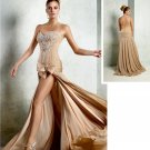 Champagne Chiffon Bridal Evening Dress Front Slit Jeweled Bodice Prom Dress Gown Sz 4 6 8 10 12 14+