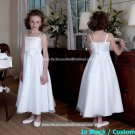 White Satin Junior Bridesmaid Dress Flower Girl Dress Baby Dresses Sz2 3 4 5 6 7 8 9 10+ Custom
