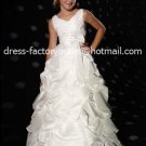 White Junior Bridesmaid Dress Prom Party Dress Flower Girl Dress Baby Dress Sz2 3 4 5 6 7 8 9 10+