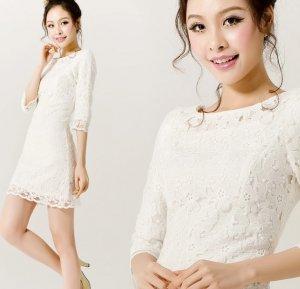 Turmec » short white lace dress 3/4 sleeves