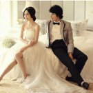 Ivory Chiffon Bridal Dress Strapless Empire Waist Wedding Dress Evening DRESS Sz4 6 8 10 12+