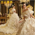 A-line Off Shulder Organza Ruffles Bridal Gown Corset Gold Lace Wedding Dress Sz 2 4 6 8 10 12+