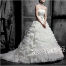A-line Strapless Layered Lace Ruffles Bridal Gown Bodeice Wedding Dress Sz 2 4 6 8 10 12+