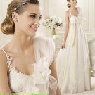 A-line Champagne White Lace Bridal Gown 2 Straps Empire Waist Pregnant Wedding Dress Sz 6 8 10 12 +