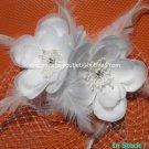 2 Roses Ivory White Satin  Handmade Tulle Short Wedding Veil Bridal Fascinate Birdcage Veil
