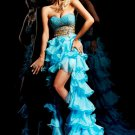 Blue Chiffon Gold Beads Bridal Dress Strapless Short Front Long Back Hi-low Beach Wedding Dress