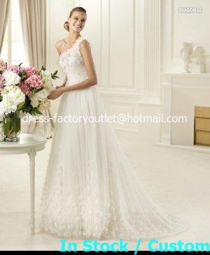 2013 A-line Bridal Gown White Ivory Lace One Shoulder Flowers Wedding Dress Sz 4 6 8 10 12+Custom