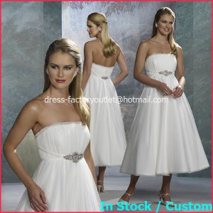 A-line Royal Bridal Gown Strapless Empire Waist Tea Length Wedding Dress Sz 4 6 8 10 12+Custom