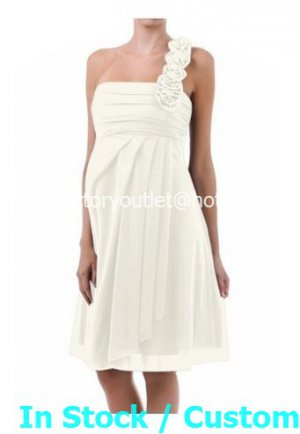 A-line Bridal Gown One SHoulder Empire Waist White Chiffon Short Wedding Dress Sz 4 6 8 10 12+Custom