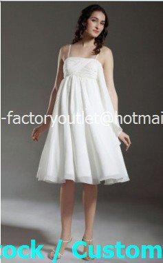 A-line Bridal Gown Thin Straps Empire Waist White Chiffon Short Wedding Dress Sz 4 6 8 10 12+Custom