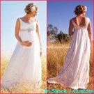 A-line White Satin U-neck Bridal Gown Empire Waist Beaded Pregnant Wedding Dress Sz 6 8 10 12 14+