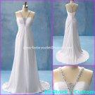 A-line White Satin V-neck Bridal Gown Empire Waist Beaded Wedding Dress Sz 6 8 10 12 14+Custom