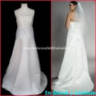 A-line White Satin Halter Lace Bridal Gown Empire Waist Wedding Dress Sz 6 8 10 12 14+Custom