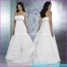A-line Bridal Ball Gown Strapless Empire Waist White Satin Wedding Dress Sz 4 6 8 10 12+Custom