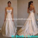 A-line Bridal Ball Gown Strapless Empire Waist Champagne Jeweled Wedding Dress Sz 4 6 8 10 12+Custom