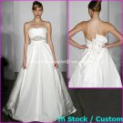 A-line Bridal Ball Gown Strapless Empire Waist White Jeweled Wedding Dress H74 Sz 4 6 8 10 12+Custom