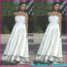 A-line Bridal Ball Gown Strapless Empire Waist White Lace Top Wedding Dress Sz 4 6 8 10 12+