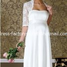 A-line Bridal Ball Gown Strapless Empire Waist White Lace Jacket Wedding Dress Sz 4 6 8 10 12+