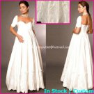 A-line Bridal Ball Gown Short Sleeve Pregnant Maternity White Wedding Dress Sz 4 6 8 10 12+