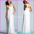 A-line Bridal Gown One Shoulder Maternity Pregnant White Chiffon Wedding Dress 1 Sz 4 6 8 10 12 14+