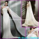 A-line Beach Bridal Dress One Shoulder Maternity White Chiffon Wedding Dress Sz 4 6 8 10 12 14+
