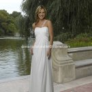 A-line Beach Bridal Dress One Shoulder Maternity White Chiffon Wedding Dress Sz 4 6 8 10 12 14+