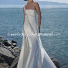 A-line Beach Bridal Dress One Shoulder Pregnant White Satin Chiffon Wedding Dress Sz 4 6 8 10 12 14+