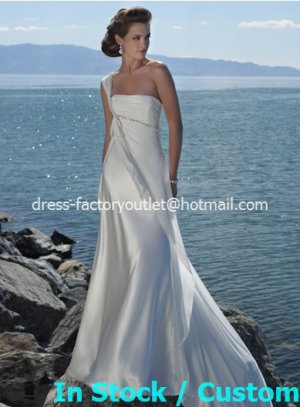 A-line Beach Bridal Dress One Shoulder Pregnant White Satin Chiffon Wedding Dress Sz 4 6 8 10 12 14+