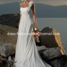 A-line Beach Bridal Dress One Shoulder Flowers White Chiffon Wedding Dress Sz 4 6 8 10 12 14+