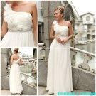 A-line Beach Bridal Dress One Shoulder Jeweled White Chiffon Wedding Dress Sz 4 6 8 10 12 14+