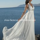 A-line Bridal Prom Dress Halter White Satin Chiffon Empire Waist Wedding Dress Sz 4 6 8 10 12 14+