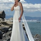 A-line Beach Bridal Dress HALTER Jeweled Maternity White Chiffon Wedding Dress Sz 4 6 8 10 12 14+