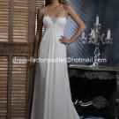 A-line Beach Bridal Dress HALTER Jeweled Bodice White Chiffon Wedding Dress Sz 4 6 8 10 12+