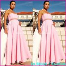 A-line Bridal Prom Dress Strapless Maternity Pink Chiffon Wedding Dress H28 Sz6 8 10 12 14 16+